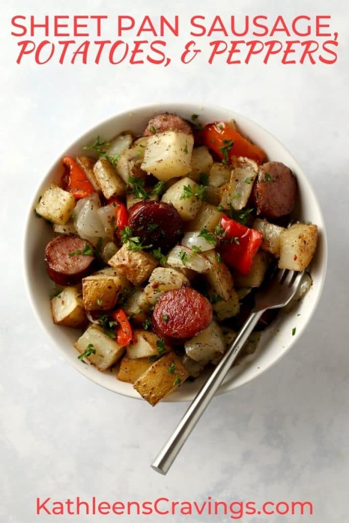 sausage, potatoes, and peppers in a bowl